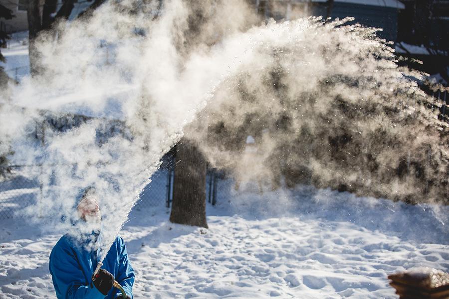 Frozen Steamy Ice Water