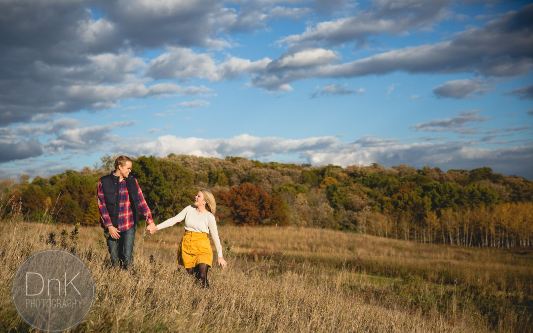 Fun fall engagement session Minnesota